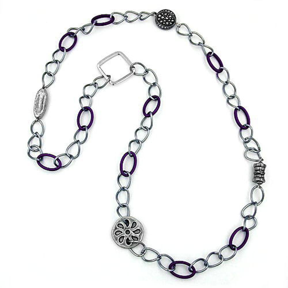 NECKLACE PURPLE-SILVER BEADS 100CM