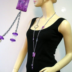 NECKLACE PURPLE BEADS 95CM