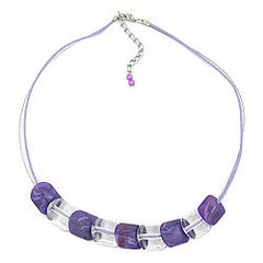 NECKLACE SLANTED BEAD LILAC-CRYSTAL CORD LIGHT LILAC 45CM