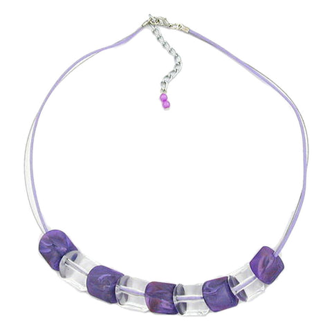 NECKLACE SLANTED BEAD LILAC-CRYSTAL CORD LIGHT LILAC