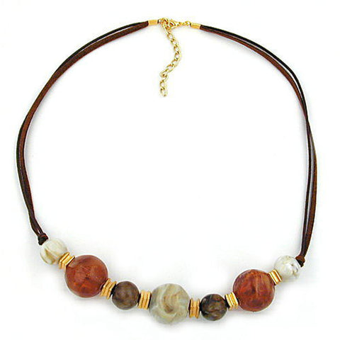 NECKLACE BROWN BEADS 55CM