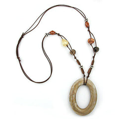 NECKLACE BIG RING BEIGE-GOLD MARBLED 95CM