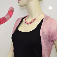 NECKLACE SLANTED BEADS PINK-MIXED 45CM