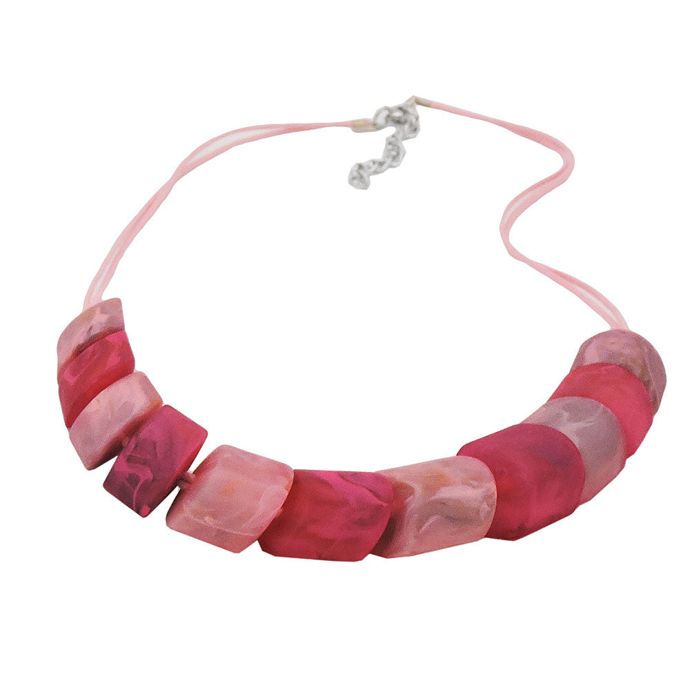 NECKLACE SLANTED BEADS PINK-MIXED
