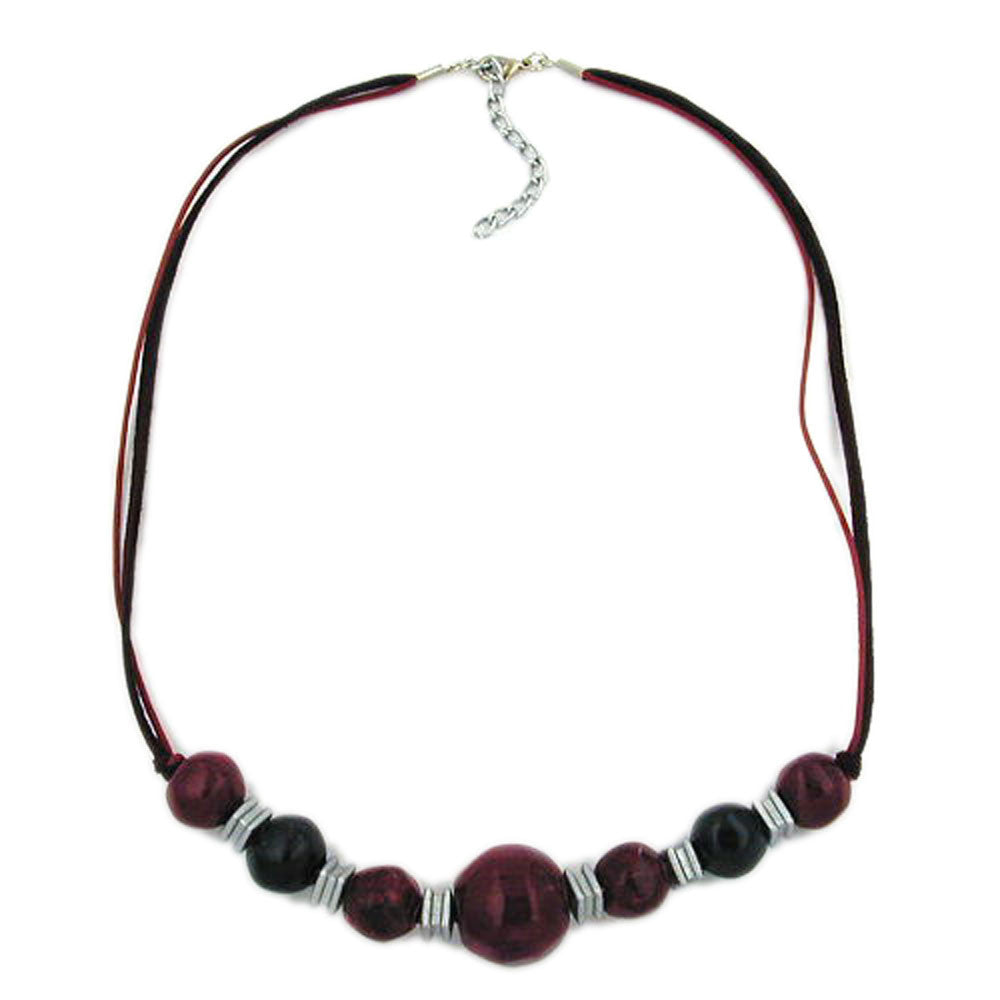 NECKLACE BEADS RED-DARKRED-BLACK 54CM