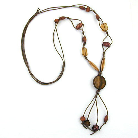 NECKLACE DISK KHAKI SILK-GLOSS 100CM