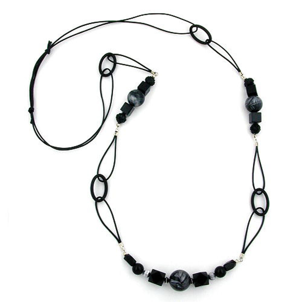 NECKLACE BLACK AND GREY-MARBELED 100CM
