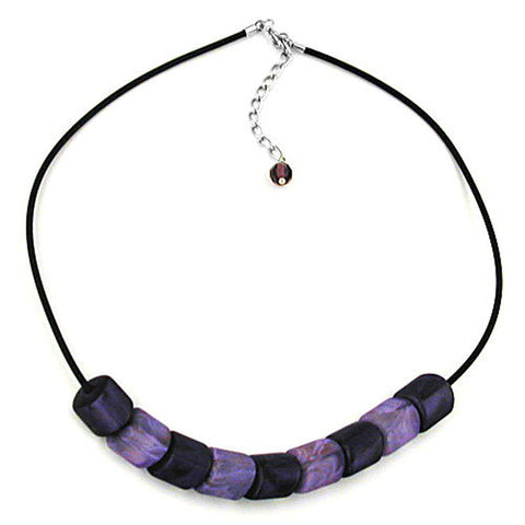 NECKLACE SLANTED BEADS LILAC-MARBELED RUBBER BAND BLACK
