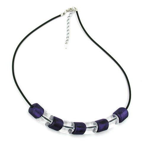 NECKLACE SLANTED BEAD LILAC-CRYSTAL RUBBER BAND BLACK