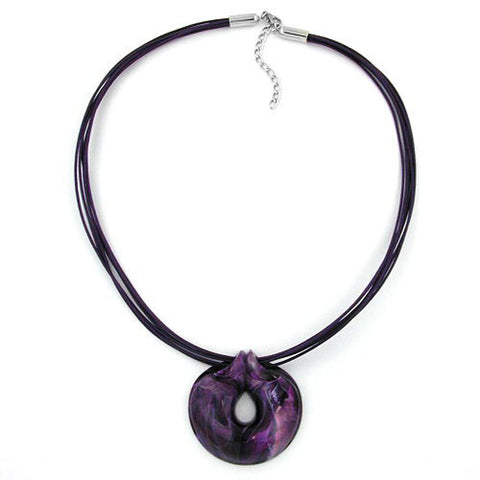 NECKLACE AMULETT LILAC MARBLED 55CM