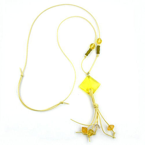 NECKLACE SQUARE BEADS YELLOW