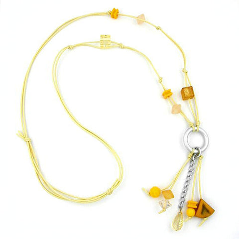 NECKLACE YELLOW BEADS 90CM