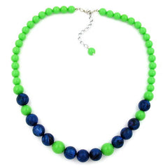 NECKLACE APPLE GREEN/ BLUE BEADS 45CM