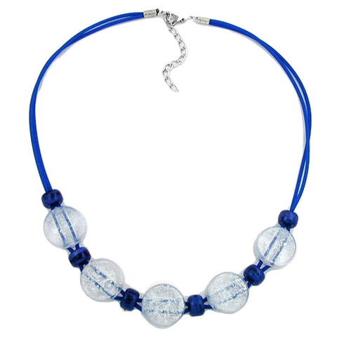 NECKLACE BLUE AND TRANSPARENT BEADS 48CM