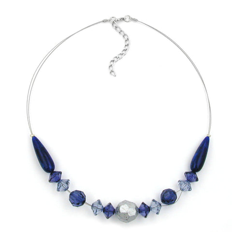 NECKLACE BLUE AND SILVER-COLOURED BEADS 45CM