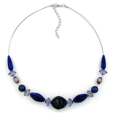 NECKLACE BLUE BEADS 45CM