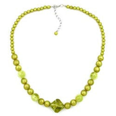NECKLACE ROUND AND CUBIC BEADS LIGHT GREEN 48CM