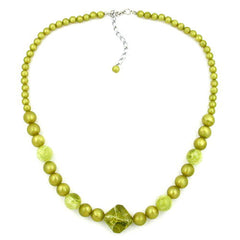 NECKLACE ROUND AND CUBIC BEADS LIGHT GREEN