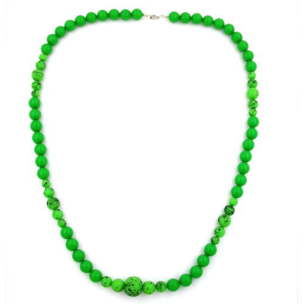 NECKLACE GREEN/BLACK BEADS