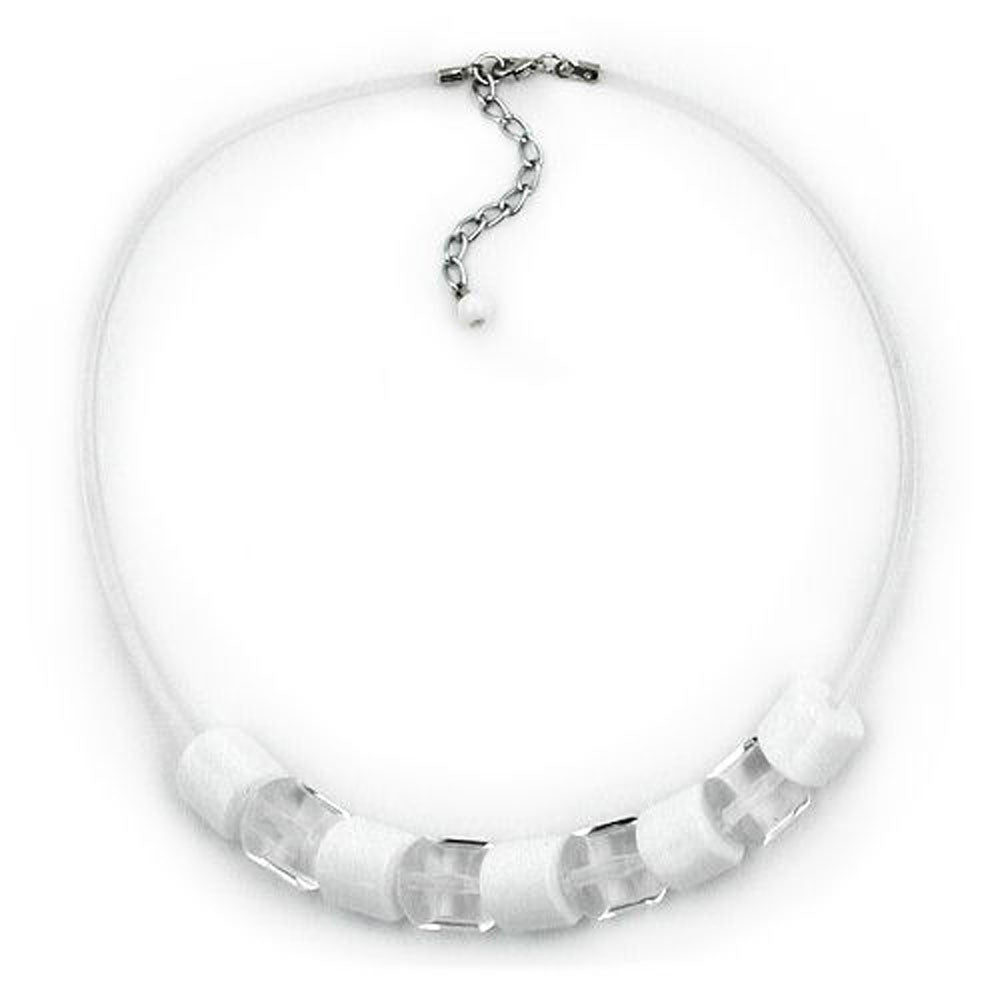 NECKLACE BEADS TRANSPARENT & WHITE