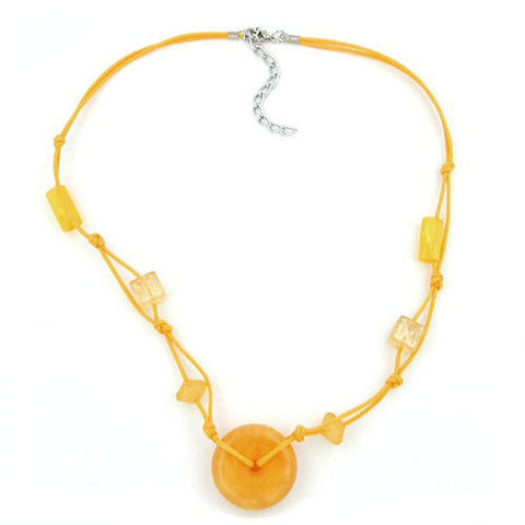 NECKLACE DISK BEAD YELLOW/TRANSPARENT