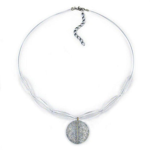NECKLACE DISK WHITE GLITTER