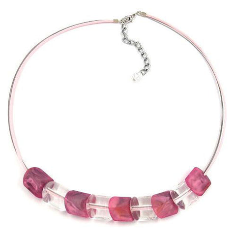 NECKLACE BEADS PINK-MARBELED 45CM
