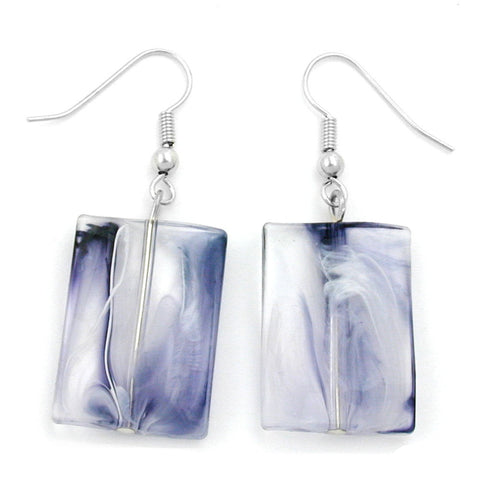 HOOK EARRINGS PILLOW BEAD BLUE WHITE MARBLED
