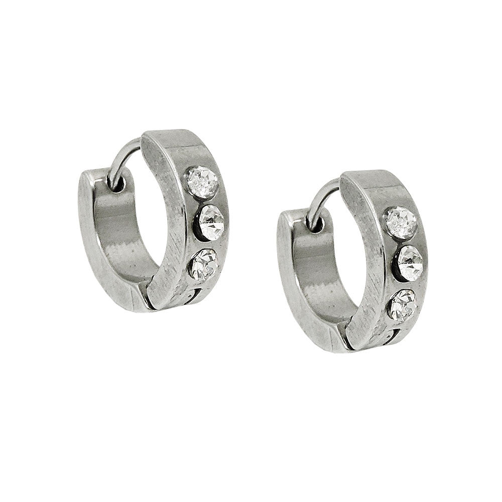 EARRING HOOPS ZIRCONIA STAINLESS STEEL