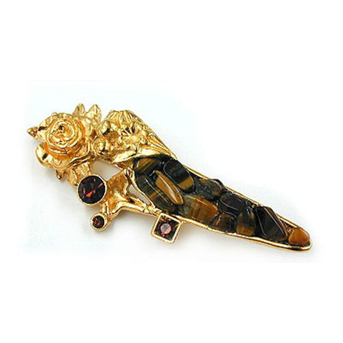 BROOCH TIGER EYE GOLD COLOURED