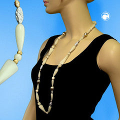 NECKLACE BEADS CREAM 96CM