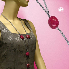 NECKLACE NUGGET-BEADS PINK 100CM