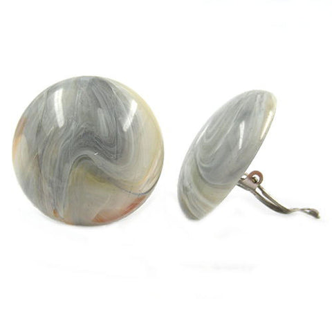 CLIP-ON EARRING ROUND BEIGE GREY MARBLED 30MM
