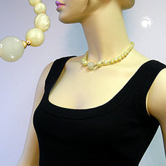 NECKLACE YELLOW TONE TRANSPARENT BEAD 42CM