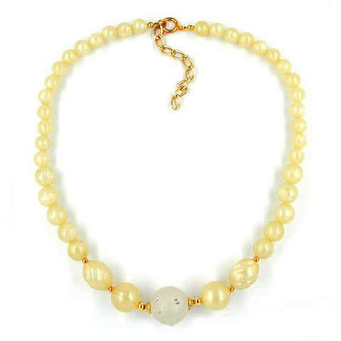 NECKLACE YELLOW TONE TRANSPARENT BEAD