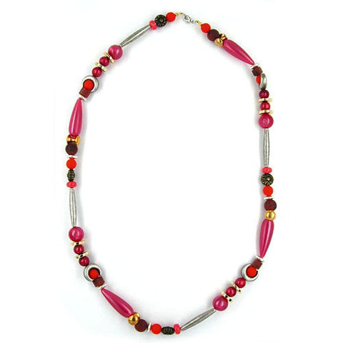 NECKLACE BEADS SILK-RED-BROWN 63CM