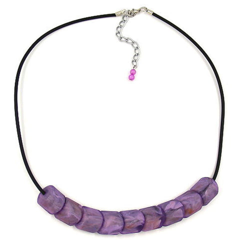 NECKLACE BEADS LILAC-MARBELED 45CM