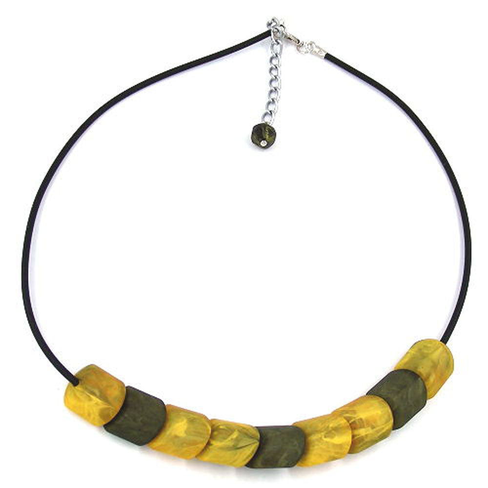 NECKLACE BEADS YELLOW-MARBELED 45CM