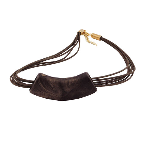 NECKLACE TUBE FLAT CURVED DARK BROWN MARBLED