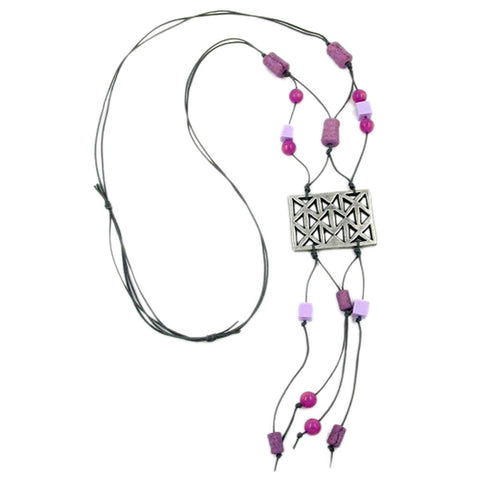 NECKLACE SILVER-COLOURED PURPLE 90CM