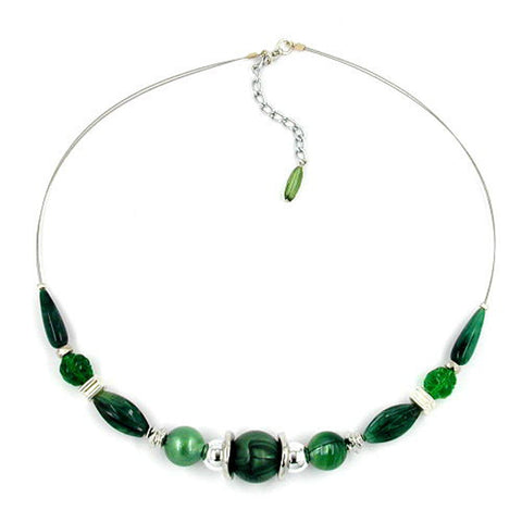 NECKLACE SHINY GREEN BEADS ON COATED FLEXIBLE WIRE 50CM