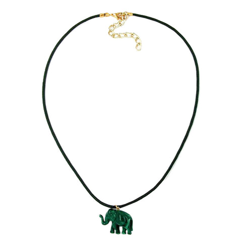 NECKLACE ELEPHANT TINY DARK GREEN MARBLED