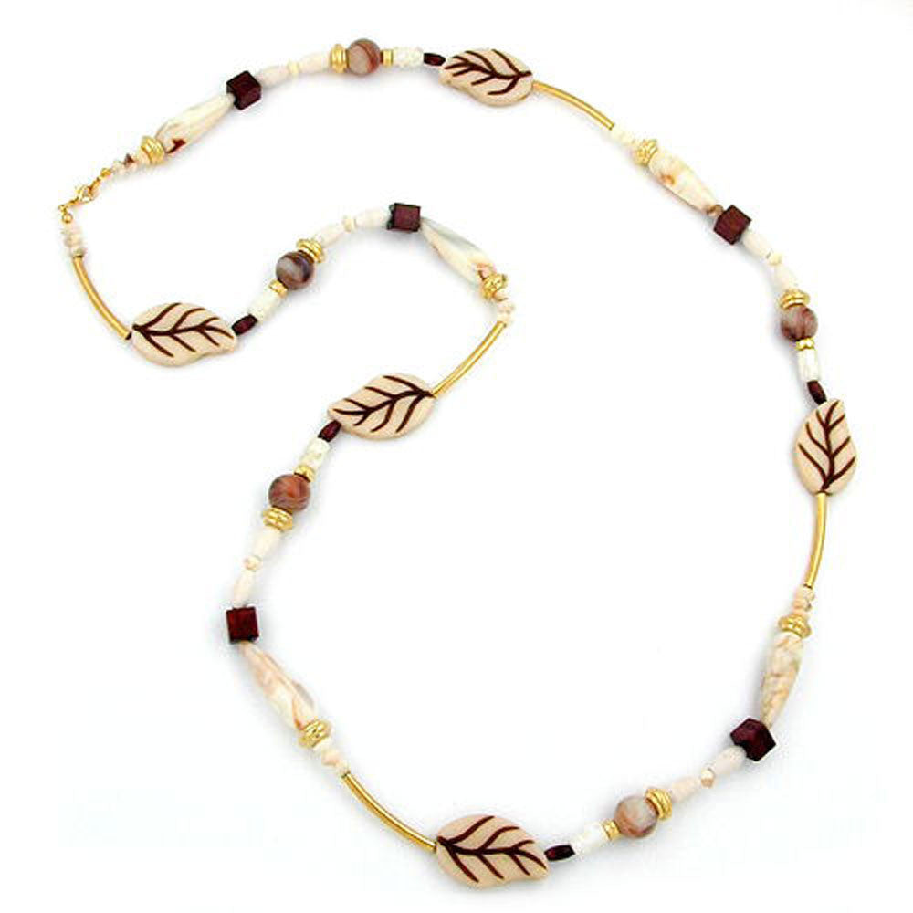 NECKLACE LEAFS BEIGE-BROWN 92CM