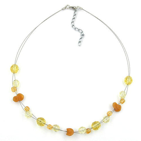 NECKLACE YELLOW AND ORANGE GLASS BEADS ON COATED FLEXIBLE WIRE