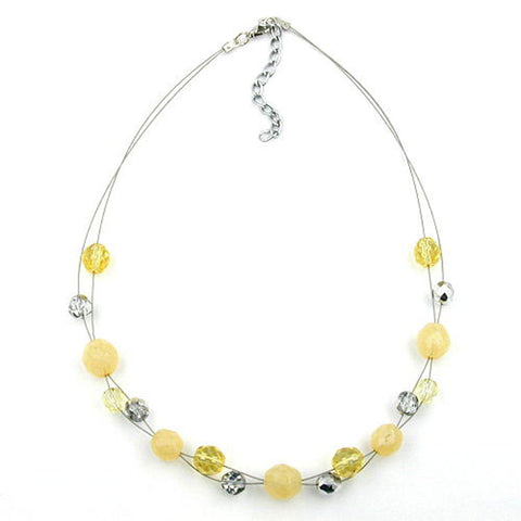NECKLACE GLASS BEADS YELLOW CRYSTAL 44CM