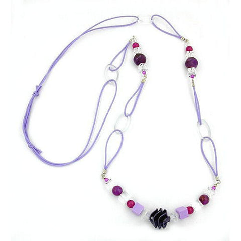 NECKLACE SPIRAL PEARL PURPLE 100CM
