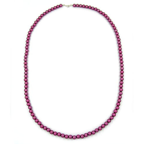 NECKLACE BEADS 8MM SILKY PURPLE