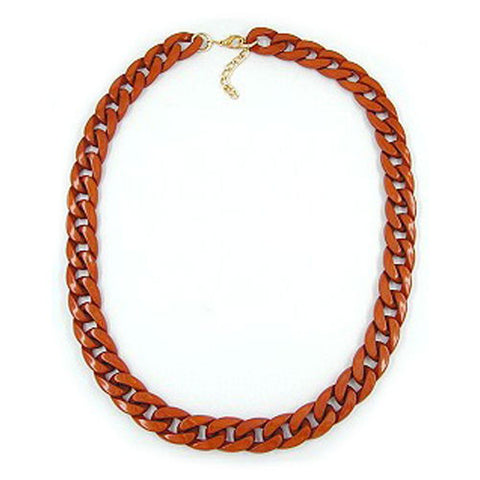 NECKLACE CURB CHAIN BROWN GLOSSY