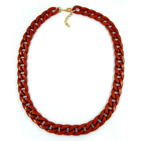 NECKLACE CURB CHAIN RED/BROWN SHINY