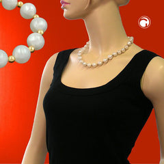NECKLACE BEADS SILKY SHIMMERING WHITE 50CM